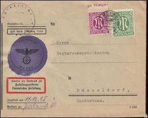 7+31 AM-Post auf Zustellungsurkunde Amtsgericht MOERS 8.12.1945 nach Düsseldorf