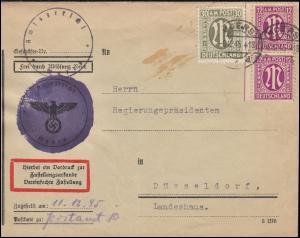 7+29 AM-Post auf Zustellungsurkunde Amtsgericht MOERS 6.12.1945 nach Düsseldorf