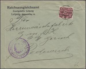 66 Dienstmarke als EF auf Dienstbrief Reichsausgleichsamt LEIPZIG 13.10.1921
