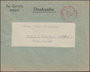 Drucksache mit rotem Einkreisstempel STUTTGART 10.9. FRANCO nach Mühlheim/Ruhr