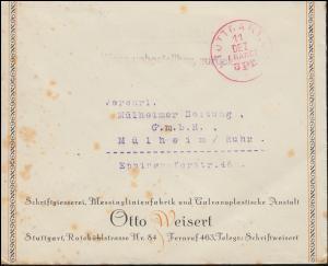 Drucksache mit rotem Einkreisstempel STUTTGART 11.12. FRANCO 3 Pf. nach Mühlheim
