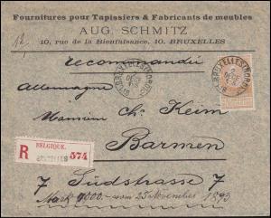 Belgien 57 Sonntagsmarke 50 C. EF Auslands-R-Brief BRÜSSEL 2.10.1893 nach Barmen