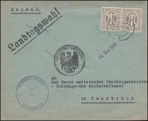 2 AM-Post 4 Pf. Paar MeF Orts-Brief Wahlzettel Landtagswahl OSNABRÜCK 13.9.1945