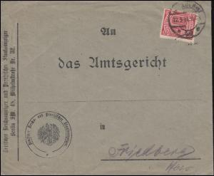 28 Dienstmarke als EF auf Dienstbrief Preussischer Staatsanzeiger BERLIN 22.3.21