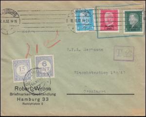 444-445 Aufdruck 30 Juni 1930 mit Zusatzfr. Bf. HAMBURG 12.11.32 nach Groningen