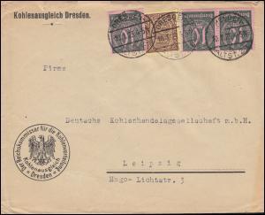 33+68 Dienstmarken-MiF auf Brief Kohlenausgleich DRESDEN 10.1.1923 nach Leipzig