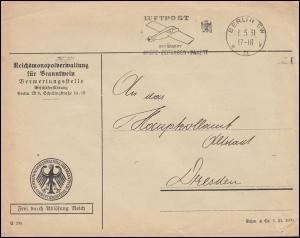 Frei durch Ablösung Reich Brief Reichsmonopolverwaltung Branntwein BERLIN 1.5.31