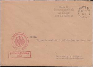 Dienstbrief an Hutschenreuther, Verwaltungsaufgaben der Luftfahrt BERLIN 22.2.36