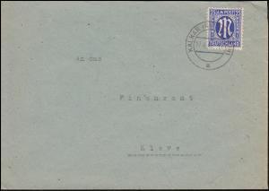 9 AM-Post 25 Pf. auf Brief von KALKAR (NIEDERRHEIN) 17.4.46 nach Kleve
