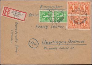 3+5 AM-Post als MiF auf R-Brief LINKENHEIM über KARLSRUHE 22.1.1946