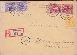 1+5+8 AM-Post mit UR-Paar 3 Pf mit Teil-Plattennummer R-Brief KARLSRUHE 21.1.46