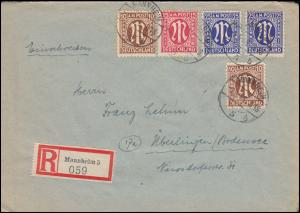 6+8+9 AM-Post auf R-Brief MANNHEIM 1.5.1946 nach ÜBERLINGEN (BODENSEE) 4.5.46