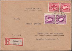 7+8 AM-Post als MiF R-Brief STUTTGART 21.1.46 nach ÜBERLINGEN (BODENSEE) 27.1.46