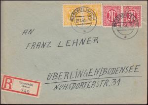 4+8 AM-Post als zwei Paare zu 6 und 15 Pf. MiF R-Brief WIESENTAL / BADEN 23.2.46