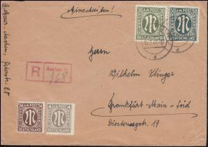 29+32 AM-Post mit Not-R-Zettel auf R-Brief AACHEN 15.7.1946 nach Frankfurt/Main
