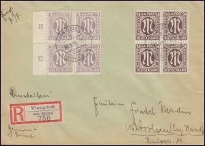 11+27 AM-Post je als Viererblock MiF auf R-Brief WINNIGSTEDT über BÖRSSUM 2.9.46