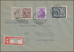11+27 AM-Post mit SBZ 2A und DR 889 als MiF R-Brief BRAUNSCHWEIG LAND 23.12.45