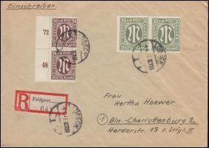 27+29 AM-Post MiF R-Brief mit Feldpost-Zettel LÜBECK 4.4.46 nach BERLIN 16.4.