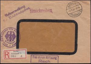 Frei durch Ablösung Reich R-Bf. Restverwaltung für Reichsaufgaben BERLIN 7.9.31
