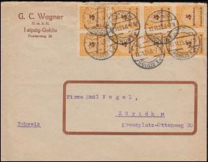 327B Infla 5 Mrd. M im 8er-Block als MeF auf Brief LEIPZIG-GOHLIS 17.11.1913