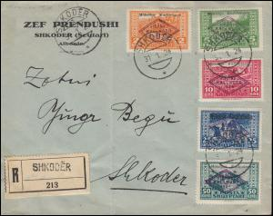 Albanien 90-94 Nationalversammlung Satz auf Orts-R-Brief SHKODER 31.1.1924
