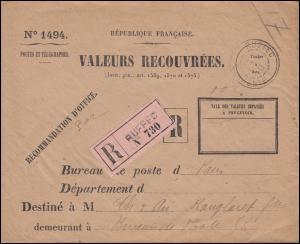 Dienstbrief VALEURS RECOUVREES als R-Brief Not-R-Zettel RUFFEC 14.12.17