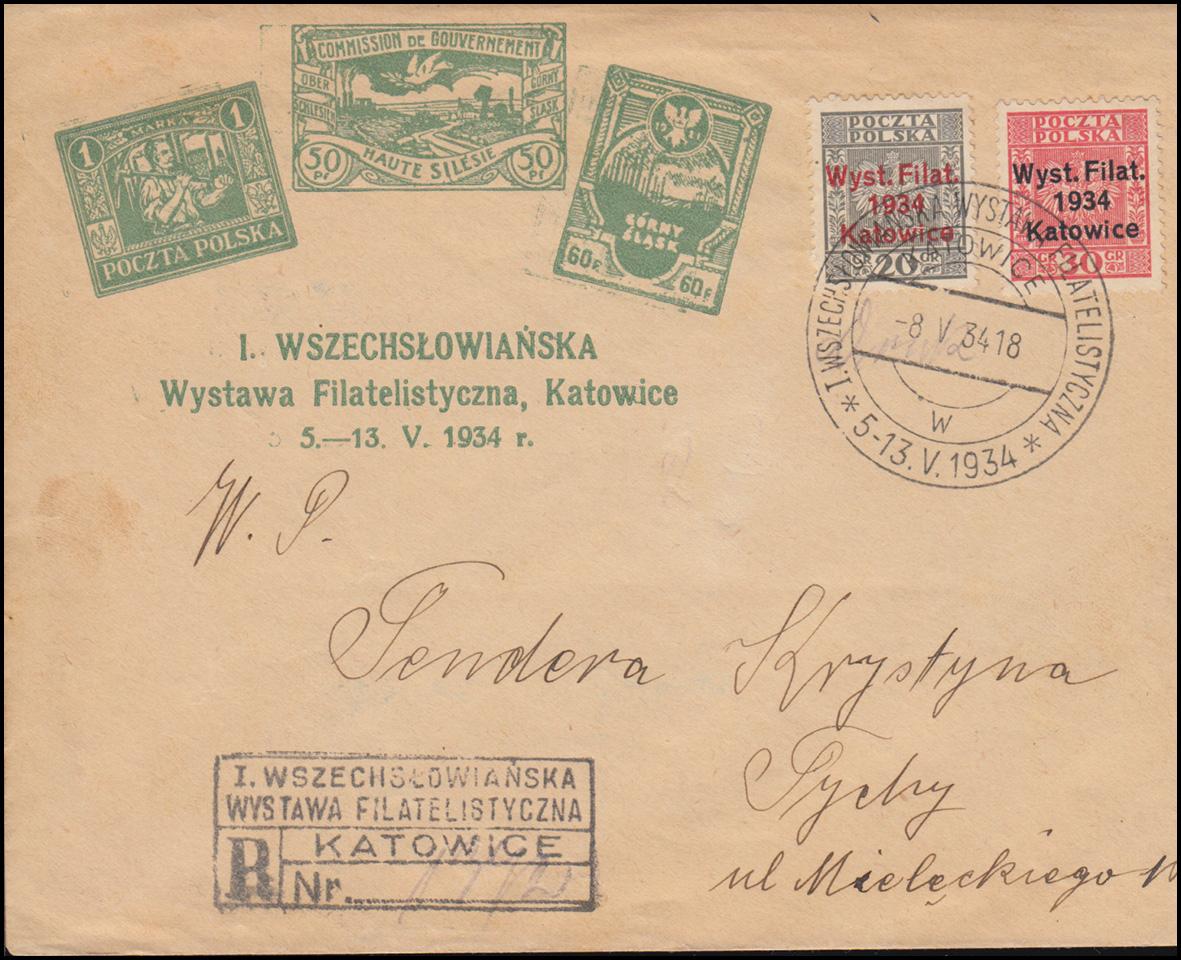 Polen 285-286 Briefmarkenausstellung Kattowitz auf Schmuck-Brief SSt 8.5.1934 0