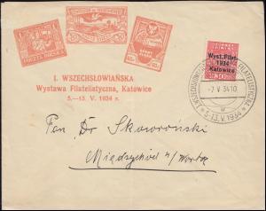 Polen 286 Briefmarkenausstellung Kattowitz als EF auf Schmuck-Brief SSt 7.5.1934