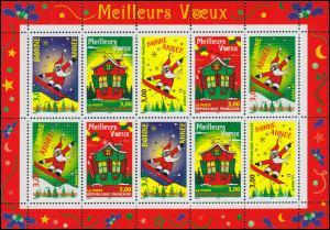 3343-3347 Grußmarke Weihnachten 1998 - Kleinbogen **