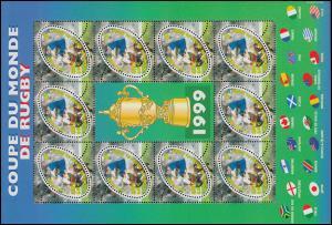 3421 Rugby-Weltmeisterschaft 1999 - Kleinbogen mit 10 Marken und Zierfeld **