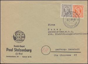 11+14 AM-Post 4+8 Pf. als MiF auf Brief Dental-Depot Stolzenburg KIEL 30.11.1945