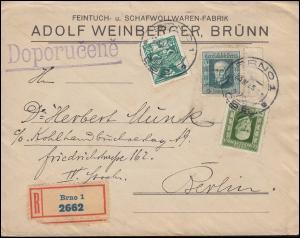 Tschechoslowakei 168 Taube mit 222+224 Masaryk auf R-Brief BRÜNN / BRNO 23.4.25