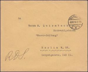 Dienstbrief Auswärtiges Amt Der Pressechef beim Reichskanzler BERLIN 6.10.18