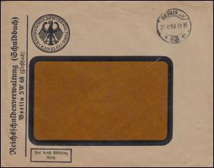 Frei durch Ablösung Reichsschuldenverwaltung / Schuldbuch Brief BERLIN 26.4.1930