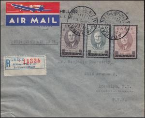Griechenland 509-511 Zum Tode Roosevelts Satz-R-Brief ATHEN 22.12.45 in die USA