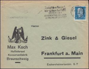 416 Hindenburg als EF auf Brief Max Koch Konservenfrabrik BRAUNSCHWEIG 19.2.1932