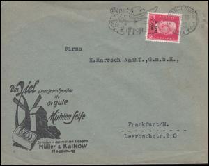 445 Rheinland 15 Pf als EF Brief Mühlen-Seife MAGDEBURG 11.8.30 n. Frankfurt/M.