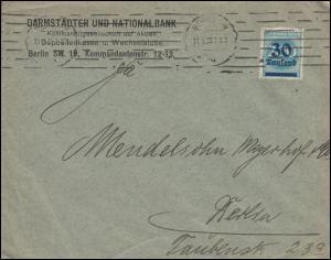 285 Infla-EF auf Orts-Brief Darmstädter und National-Bank BERLIN 11.9.1923