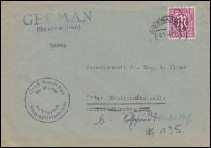 7 AM-Post 12 Pf. EF auf Brief Hessischer Minster für Wirtschaft WIESBADEN 5.1.46