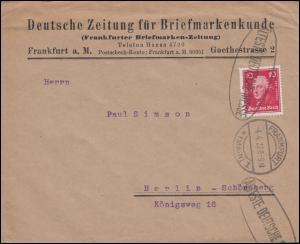 390 als EF auf Brief Deutsche Zeitung für Briefmarkenkunde FRANKFURT/M. 4.4.27