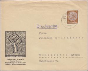513X Hindenburg als EF Paul Koch KABE-Briefmarken-Alben ASCHERSLEBEN 3.8.36