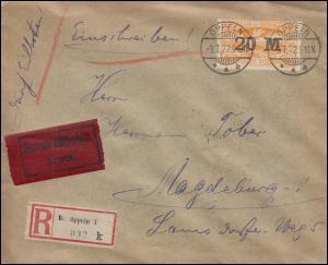 Oberschlesien 43 Aufdruck 20 M. auf 80 Pf. - Eil-R-Brief OPPELN 9.7.22 (Typ E)