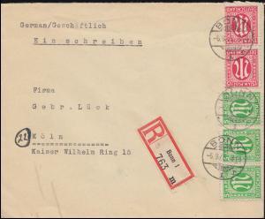 3+8 AM-Post 5 und 15 Pf. MiF auf R-Brief BONN 6.9.1945 nach KÖLN 7.9.45