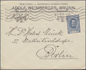 Tschechoslowakei 161 Masaryk als EF auf Brief BRÜNN / BRNO 27.11.20 nach Berlin