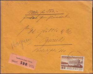 Schweiz 323 Arbeiterorganisation BIT 60 C. als EF auf Wert-Brief GENF 20.10.1940
