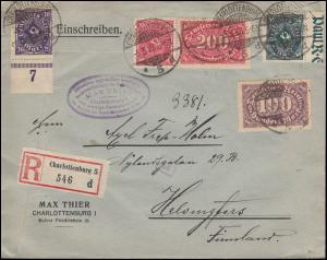 209ff Infla-Mischfrankatur auf R-Brief CHARLOTTENBURG 5.3.1923, INFLA-geprüft