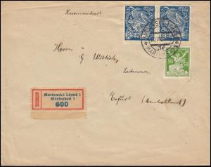 Tschechoslowakei 175A Freimarke +184 Wissenschaft auf R-Brief MARIENBAD 20.6.24