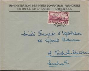114 Abtei Tholey als EF auf Brief Franz. Bergbauverwaltung  SAARBRÜCKEN 11.8.27