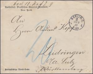 Kaiserlich Deutsches General-Konsulat New York Bf. BERLIN 24.9.97 n. Leidringen