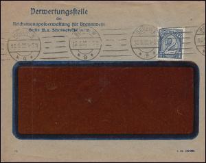 32 Dienstmarke 2 M. als EF auf Brief Verwertungsstelle Branntwein BERLIN 13.6.22